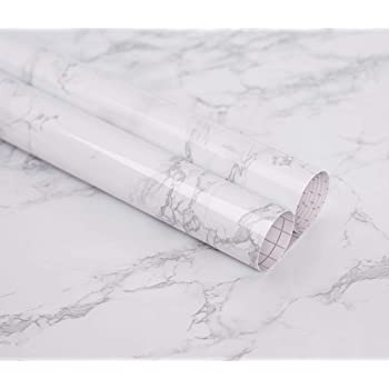 """Marble Self Adhesive Paper 24"""" X 78.7"""" Granite Look Effect Peel and Stick Paper Decorative Self-Adhesive Film Marble Gloss Vinyl Film for Kitchen Cabinet"""