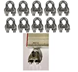 "Cable Clamps 3/16"" U-Bolts Galvanized Wire Rope Clamps Clips 10 Pack"