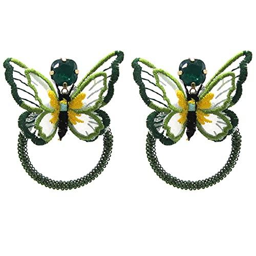 Pendientes Colgantes Joyería Bohemia Verde Oscuro Pequeños Pendientes De Mariposa Pendientes De...