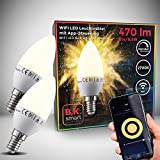 B.K.Licht I 2er Set LED E14 Wi-Fi Lampen I 5,5 Watt I 470 Lumen I 2.700K Warmweiß I Dimmbar I App- Sprachsteuerung Alexa Google Home I iOS & Android I WLAN Glühbirne I Smartes Leuchtmittel