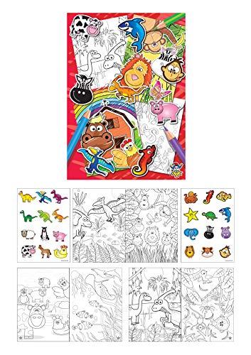 KINPARTY ® - 12 Libros con dibujos para colorear y Pegatinas – Para regalos, cumpleaños, piñatas – Arte infantil – Material educativo