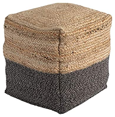 Signature Design by Ashley - Sweed Valley Pouf - Jute/Cotton - Natural/Black