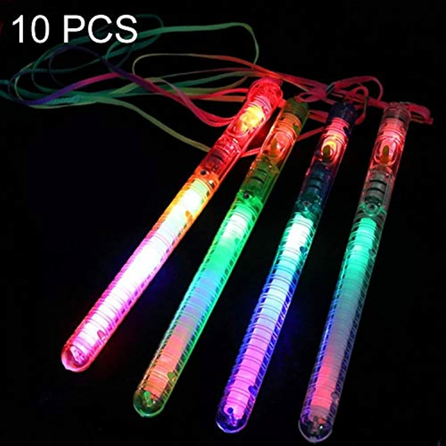 Simple LED color Flash Stick Glow Stick Three Gears Adjustment with Rope, Random color Delivery 10 PCS Beautiful