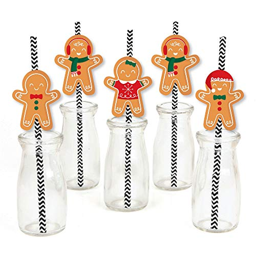 Big Dot of Happiness Gingerbread Christmas - Paper Straw Decor - Gingerbread Man Holiday Party Striped Decorative Straws - Set of 24