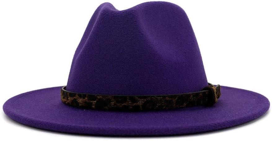HXGAZXJQ Fashion 2020 Cotton Unisex Fall/Winter Fedora Hat Wide Brim Jazz Cowboy Wideband Hat Simple Church Party Hat (Color : Purple, Size : 56-58cm)