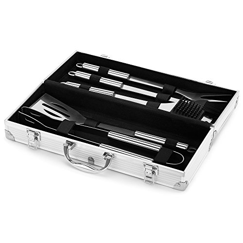 VonHaus 5-piece BBQ Utensil Set - Stainless Steel Set in Aluminium Case