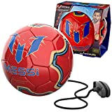 Messi Training System Kids Training Soccer Ball - Size 3 Youth Smart Football with Tether for Juggling, Foot Control, Kicking Practice - Adjustable Cord - Outdoor Soccer Equipment, Gold