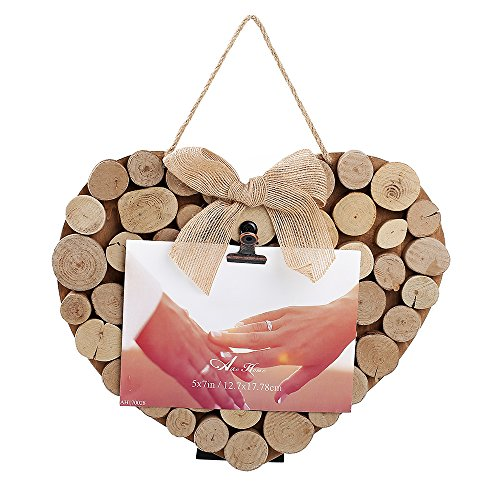 Aike Photo Picture Display 4x6 or 5x7 Clips on Real Wood Tree Root for Home Anniversary Birthday Love Wedding Occasion Heart Shape Nature Color with Bowknot and Rope Easel Hanger.