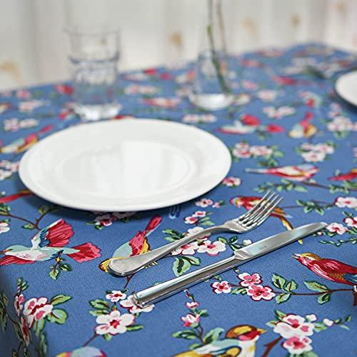 Mantel de Mesa Paño de Algodón y Lino Antimanchas, Conjunto de curruca de algodón oropéndola pájaro Rojo Beige Amarillo Azul