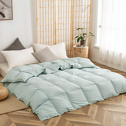 Hahaemall All Seasons Duvet Four Season Duck Down Feather Duvet Anti-Dust Mite & 100% Feather-Proof Fabric - For All Season Use-Green_220x230cm