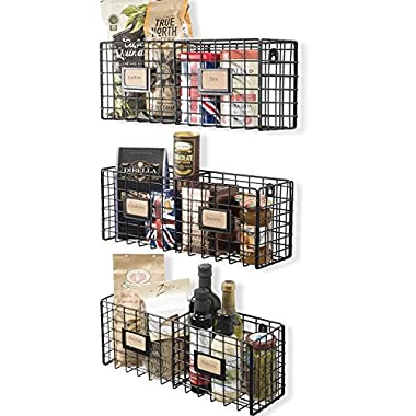 Wall35 Wire Mesh Wall Shelf Decorative Organizational Wall Mountable Wire Racks for Coffee Shops and Eateries Set of 3 Black Rustic Industrial Style