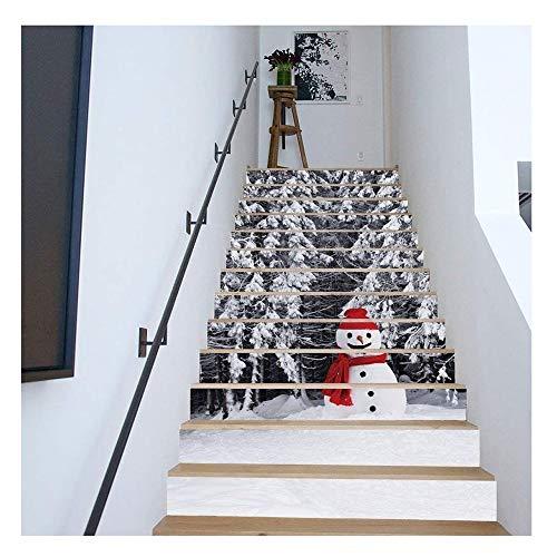 JCCOZ-URG 13pcs / Set 3D muñeco de Nieve de la Escalera Adhesivos de PVC Autoadhesivo Pared murales árbol de Navidad Decoración 39.3'W x 7' h URG