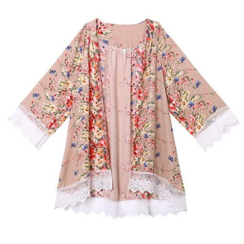 Tops de Moda de Verano para Damas, Mujeres Top de Manga Tres Cuartos Cárdigan Kimono Floral Suelto de Gasa Tops Blusa Suelta Informal Chal Boho Beach Cover up Chaqueta de Playa Ligera Camisa de Gasa
