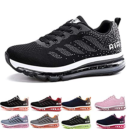 Air Zapatillas de Running para Hombre Mujer Zapatos para Correr y Asfalto Aire Libre y Deportes Calzado Unisexo Black White 41