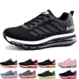 Homme Femme Air Baskets Chaussures Gym Fitness Sport Sneakers Style Running Multicolore Respirante Black White 38