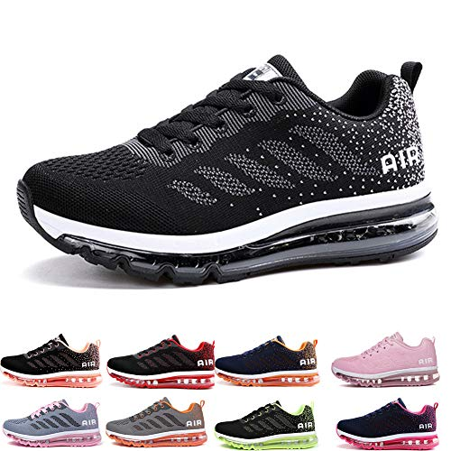 Uomo Donna Air Scarpe da Ginnastica Corsa Sportive Fitness Running Sneakers Basse Interior Casual all'Aperto Black White 35