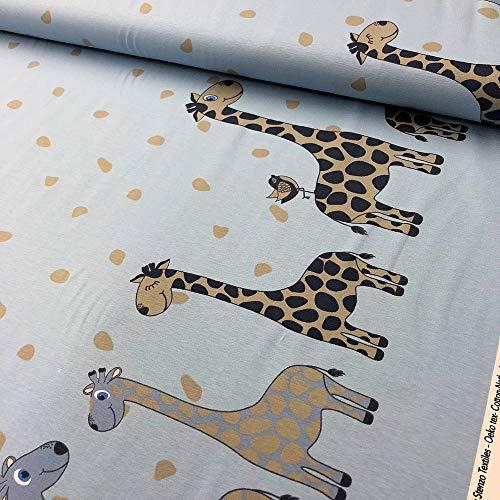 Jersey Bordüre Giraffe hellblau - Stoff - Meterware - 0,5m x VB