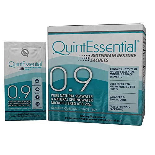 QuintEssential 0.9 - Liquid Mineral Electrolyte + Trace Mineral Replenishment, Raw Unheated Ocean Minerals Hydration Drink to Support Detox, Relaxation - Keto (30 Sachets)