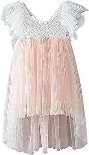 Byinns Girl Irregular Tulle Dress Backless Lace Tutu Party Birthday Flower Dress