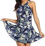 Ocean Plus Mujer Bañador Vestido de Baño de con Cuello de Malla y Espalda Descubierta Traje de Baño Multicolor Diseño Ajustado a la Figura (L (EU 38-40), Flores Azules)