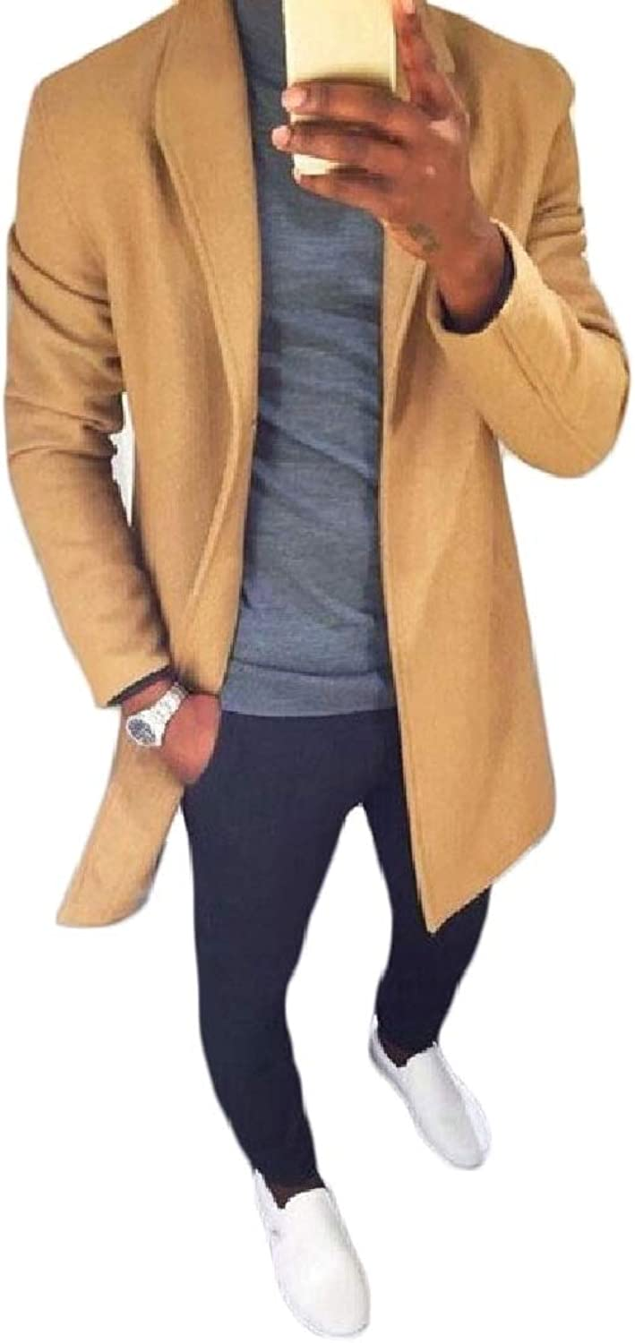 QD-CACA Mens Casual Lapel Long Sleeve Slim Fit Wool Jacket Trench Coat
