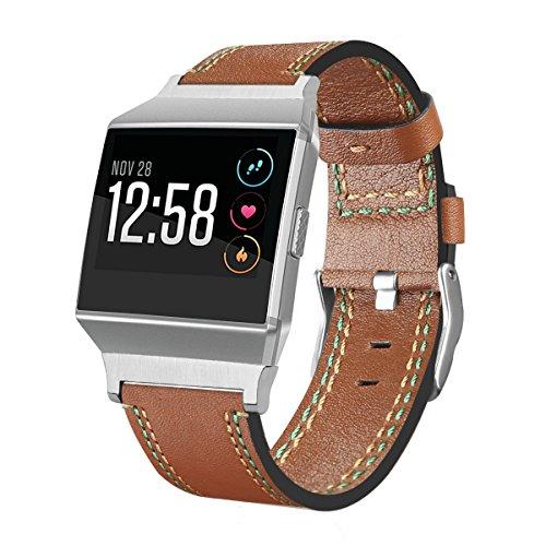 Für Fitbit Ionic Träger, angolf Fitbit Ionic Band Leder Gurt Smart Watch verstellbar Ersatz Band mit Metall klassisch Armband Schnalle Schließe für Fitbit Ionic Fitness Zubehör