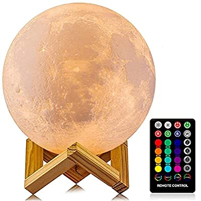 Moon Lamp, LOGROTATE 16 Colors LED Night Light 3D Print Moon Light with Stand & Remote/Touch Control and USB Rechargeable, Moon Light Lamps for kids friends Lover Birthday Gifts (Diameter 4.8 INCH) from LOGROTATE