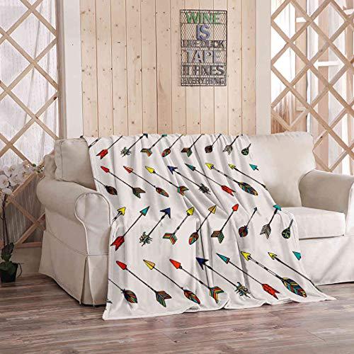 Kuidf - Manta geométrica étnica colorida y tribal india flechas nativas americanas de franela de lujo para sofá cama o sofá de 152 x 203 cm