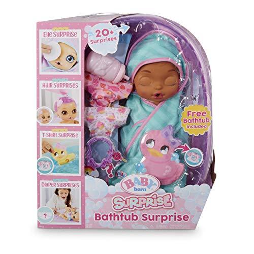 Baby Born Surprise Bathtub Surprise Teal Swaddle Princess, Multicolor