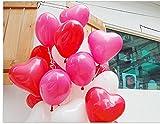 logei® 100St Herz-Luftballons Liebe Herz Luftballons Herzballons Ballons Deko für Valentinstag, Verlobung, Hochzeit (Rot) - 2