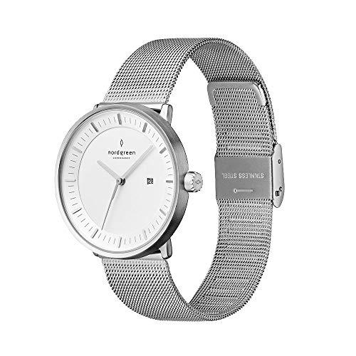 Nordgreen Philosopher skandinavisches Uhren Set in Silber mit DREI austauschbaren 36mm Armbändern in Mesh Silber, Nylon Bohème Grün & Leder Schwarz 13044
