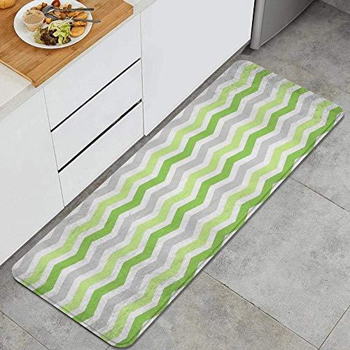 MIGAGA Kitchen Rug Cushioned Floor Mat,Lime Green Grey Chevron,Non-Slip Standing Carpet for Doorway Bathroom Runner Rugs