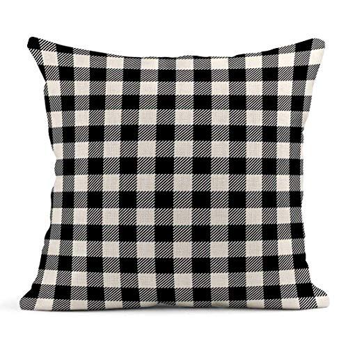 Cojín Patrón de Cuadros Escoceses de Cuadros Negros Vichy Blanco Cuadros Abstractos Cojín de Lino Celta Almohada Decorativa para el hogar
