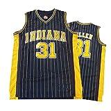 Camiseta de Baloncesto para Hombre, Indiana Pacers 31# Reggie Miller Street Camiseta Retro Verano Bordado Tops Niño Swingman Baloncesto Traje Regalo de cumpleaños (S-3XL)-Black-XXXL(190.195cm)
