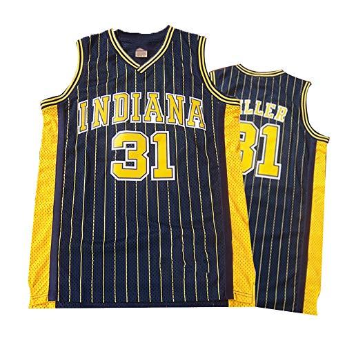 Legende Rückfall Basketball Jersey, Indiana Pacers 31# Reggie Miller Retro Stickerei Atmungsaktive Swingman Jersey Weste, 90S Hip Hop Kleidung T-Shirt Top für Party -Black-S