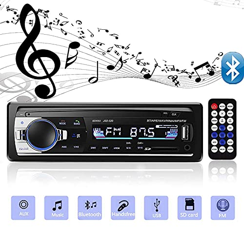 Andven Autoradio Bluetooth, Auto Stereo Audio Ricevitore, 4x60W FM Radio MP3 Player 1 Din, Supporto AUX/SD/USB/Telecomando