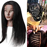 Mannequin Head with Human Hair (16Inch) Natural Long Hair Real Afro 100% Human Hair Maniquins Head Hairdresser Cosmetology Mannequin Manikin Training Head Hair and Clamp Holder