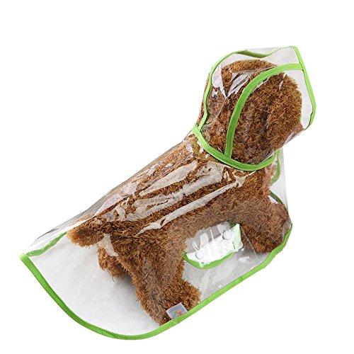 Koly_Abbigliamento Impermeabile Cucciolo Impermeabile Trasparente Cappotto di Pioggia dell'animale Domestico Impermeabili per Cani di Piccola Taglia (L, Green)