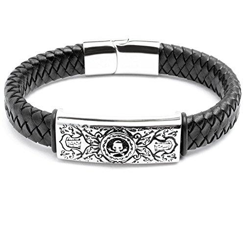 Echt Leder Herren Armband Lederarmband schwarz Edelstahl Schild silber Totenkopf Schädel Piraten Biker Rocker Harley (20.5)