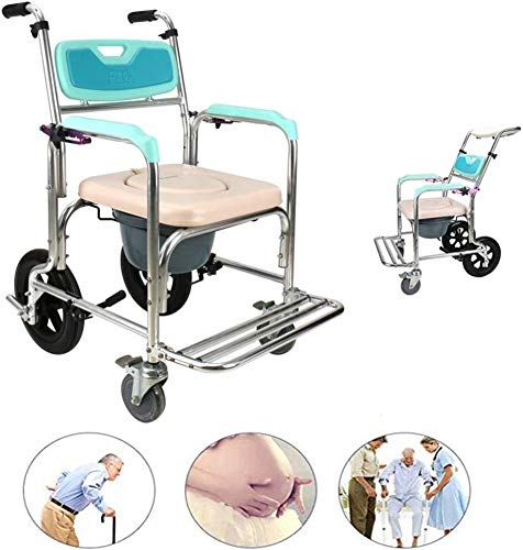 NDW Commode Stuhl mit Rädern und Fußstützen, wasserdichter Transport Mobil Elderly Duschstuhl Verstellbarer Backrestc Rollen Stuhl 0520