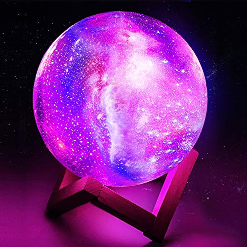Toyuugo Moon Lamp 3D LED Moon Night Light Lamp for Kids, Dimmable Touch Control Brightness Light for Home Decoration and Gifts for Lovers, Parents, Friends, 16 Color 5.9 inch