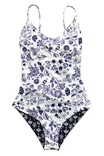 CUPSHE Light Up The Night Print One-Piece Swimsuit Beach Swimwear Bathing Suit (L) White