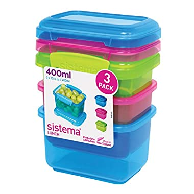 Sistema Lunch Collection Food Storage Containers, Assorted Colors, 13.5 Ounce/1.6 cup each, Set of 3
