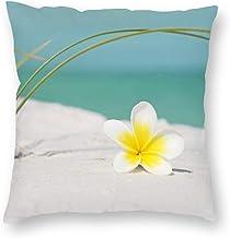 Decorative Pillow Covers Frangipani Summer Decorative Illustration Throw Pillow Case Cushion Cover Home Office Decor,Squar...
