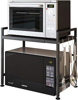 Vinteky - Support extensible pour micro-ondes, étagère pour four à micro-ondes en acier au carbone, noir,