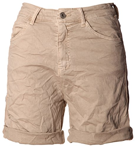 Basic.de Basic.de Damen Bermuda-Shorts mit Metallstreifen Melly & CO 6009 Beige S