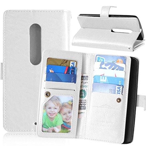 FUBAODA für Moto X Play XT1562 Hülle, Flip Money Karte Slot Brieftasche, Klassiker, Ständer, Handyhülle Ledertasche Phone Tasche Hülle für Motorola Moto X Play XT1562 (Weiß)