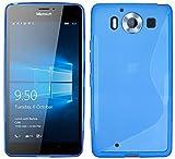 S Line TPU–Carcasa para Microsoft Lumia 950funda de silicona en azul @ Energmix