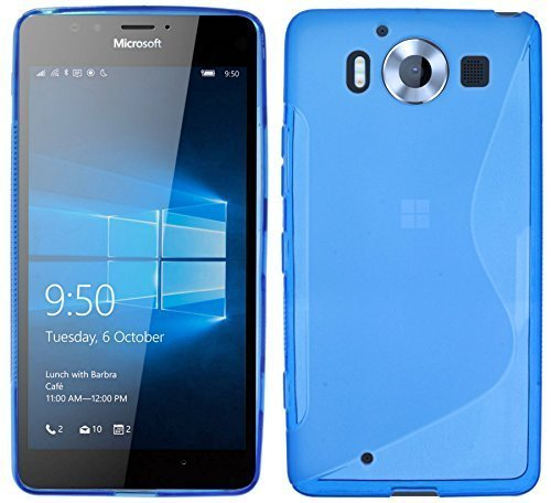 ENERGMiX S-Line TPU SchutzHülle kompatibel mit Microsoft Lumia 950 Silikon Hülle in Blau