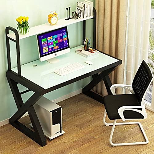 QTWW Escritorio para Juegos de Vidrio Templado, Escritorio para Juegos, estación de Trabajo para computadora de Juegos, Mesa para computadora de Oficina en casa con estantería y Sistema de admini